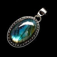"Labradorite 925 Sterling Silver Pendant 1 1/2"" Ana Co Jewelry P721604F"