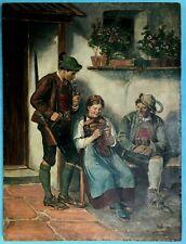 Ölgemälde vor dem Haus Jäger Tiroler Paar Münchner Schule Defregger Motiv? ~1900