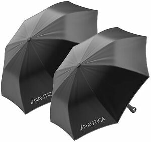 Nautica 3-Section Black Auto-Open Umbrella Set (2-Pack) Rainy Day Protection