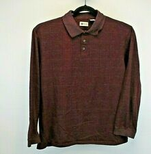 Haggar Clothing Long Sleeve Men's Large Polo Shirt Maroon Gray Square Pattern