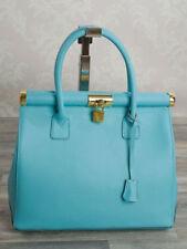 Ital. Trage Hand Damen Sommer Tasche Kelly Doc Bag echt Leder Hellblau 351HBL