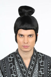 Men Black Wig Bun Japanese Samurai Halloween Cosplay Party Fancy Costume 01-007