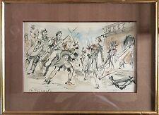 Daniel TRICART 1926-2005.Bataille de rue aux Tuileries.Encre et aquarelle.SBG.