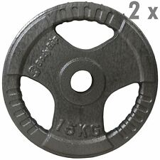 TRI GRIP OLYMPIC WEIGHT 2 x 15kg PLATES DISC CAST IRON FITNESS GYM