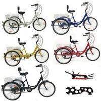 "Adult 7-Speed Adult 24"" 3-Wheel Tricycle Trike Bicycle Bike Cruise With Basket"