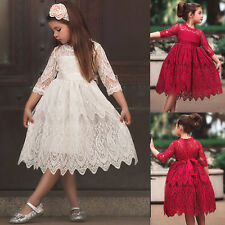 Princess Lace Pleated Dress Kids Girls Rose Bow Costumes Birthday Party Sundress