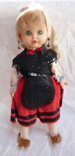 1968 Spain Plastic Doll with Felt Velvet Dress and Wooden Shoes 14""