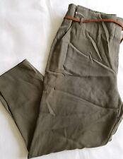 NEW Per Una Roma Green Peg Leg Trousers w/ Brown Belt Size 16 short