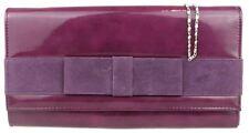 Retro Ladies Patent Faux Leather Clutch Bag Suede Bow Evening Handbag Party