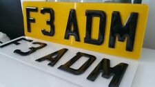 SHORT SMALL 33CMs BLACK OR CARBON NUMBER PLATES 3D GEL RESIN 5 CHARACTERS 13""