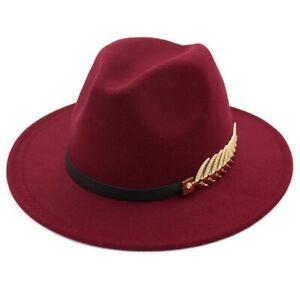 Vintage Wide Brim Fedora Hat for Men Womens Felt Trilby Panama Hat Flat Jazz Hat