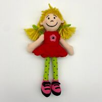 """Jellycat Ragdoll Plush Small Soft Toy Doll Plaited Blonde Hair Red Dress 8"""" Girl"""