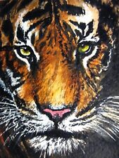 Watercolor Painting Tiger Face Big Cat Wild Animals Aceo Art