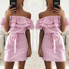 Plus Size Women Holiday Off Shoulder Bardot Mini Dress Lady Summer Frill Tops PS