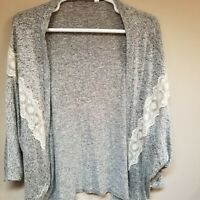 Emerald Women's Cardigan Gray Lace Eyelet Floral Design Open Front Sweater 1 XL.