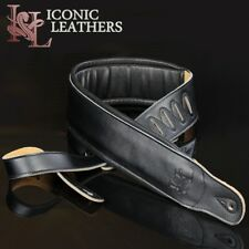 "Iconic 3.25"" Extra Wide Dual Padded Leather Black Guitar Bass Strap IL-5Blk"