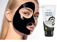 ORIFLAME PURE SKIN CHARCOAL PEEL-OFF MASK lifts impurities dirt oil blackheads
