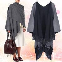 Women Reversible Tassel Knit Shawl Cardigan Sweater Jacket Poncho Cape Coat Top