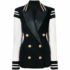 Ladies Cotton Blazer Women Leather Patchwork Double Breasted Varsity Wool Jacket