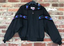 Vintage 90s Walls Mountain Navajo Southwestern Aztec Print Bomber Jacket Black