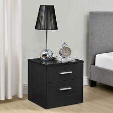 [en.casa]® Mesilla de noche mesita con 2 cajones negra mesa auxiliar moderna