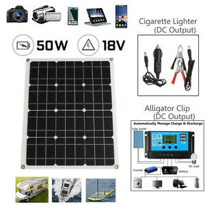 50W Solar Panel Monocrystalline Silicon Controller Battery Charger Camp