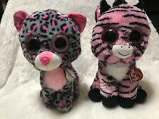 TY Beanie Boo Medium - Zoey & Tasha Lot Glitter Eyes 8 inch Pre Owned