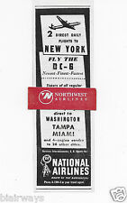NATIONAL AIRLINES 1949 2 DC-6 FLIGHTS TO NEW YORK FROM HAVANA AD