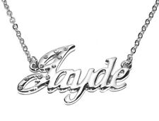 """Name Necklace /""""MANON/"""" 18ct Gold Plated Czech Rhinestones Christmas Jewelry"""
