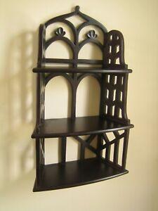 Vintage Shelf 3 tier arched open work wooden Pretty!  VGC