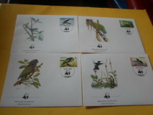Dominica 1984 Wwf Bird 4 FDC First Day Covers