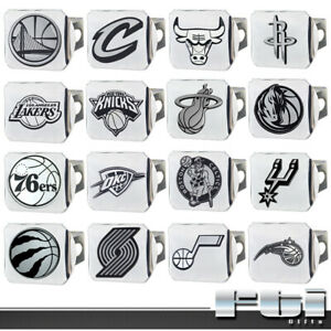 "NBA Teams Sport Basketball Chrome Metal 3D Logo 2"" Trailer Hitch Cover"