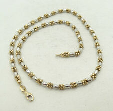 """Stunning 14K Y & W Gold Faceted Barrel Link Bead Cluster Necklace 16"""" A4568"""
