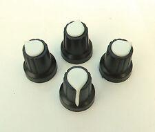 Quattro NERO / BIANCO puntatore Manopole Per Mixer, Chitarra pedale progetto 6mm spline POT