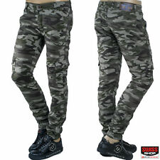 Mens Cargo Army Military Combat Multi Pockets Skinny Work Trousers Canvas Pants