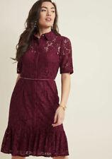 9eaf182296d Adrianna Papell Cynthia Lace ModCloth Shirt Dress w Ruffle Hem  149 US12  Cherry