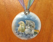 Russian hand painted SHELL pendant necklace GREY CAT & CHICK  IZOTOV Silk Ribbon