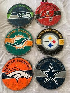 """NFL Assorted Teams Wall Bottle Cap Sign 13"""" Forever Collectibles Brand New"""