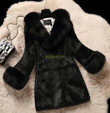 NUOVO donna vera pelliccia di volpe Collare Inverno caldo Giacca Cappotto Parka Imbottito Pelliccia di Coniglio