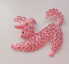 Vintage Retro 60s Cute Puppy Dog Pink Poodle Enamel Pin Brooch Hard to find RARE