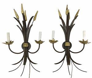Sarreid Ltd Wheat Sheaf Tole Style Wall Plug In Candle Sconces Gilt Faux Bronze