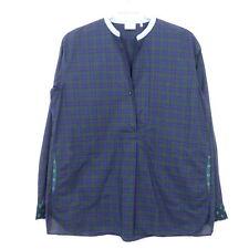 CALIBAN 820 Bluse Tunika Oversize Blau Grün Kariert Gr. IT 42 / D 36