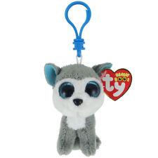 "TY Beanie Boos 3"" SLUSH Husky Dog Plastic Key Clip Plush MWMT's w/ Heart Tags"