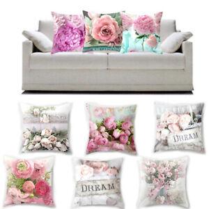 Rose Floral Flower Pink Waist Cushion Cover Throw Pillow Case Sofa Home Decor