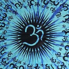 Colcha Om negro azul turquesa 235x205cm algodón manta India cortina pared
