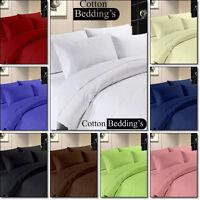 Sheet Duvet Set Pillow Cases 600 TC 100% Egyptian Cotton UK Size Hotel Colors