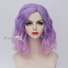 35CM Lolita Women Party Light Purple Mixed Pink Curly Synthetic Cosplay Wig