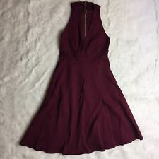 Lulus Maroon Red Fit and Flair Stretch Dress Sleeveless V Neck Size Medium J2Y