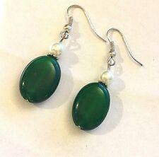 A Green Jade & White Pearl Drop Dangle Earrings, Silver Hooks, BOXED Plum UK