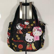 F/S Hello Kitty Manufatto Japanese Kimono Elegance 2way Black Bag Kyoto Japan